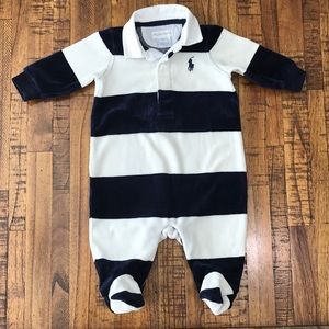 3M Ralph Lauren Navy and White Striped Footsie